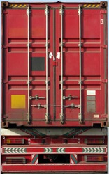 Huge red metal container