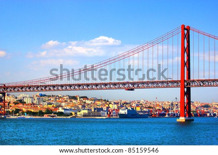 Huge road and rail bridge in Lisbon, Portugal
