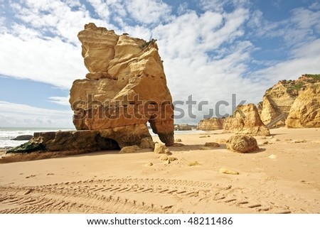 Huge rocks at Praia da Rocha in the Algarve in Portugal