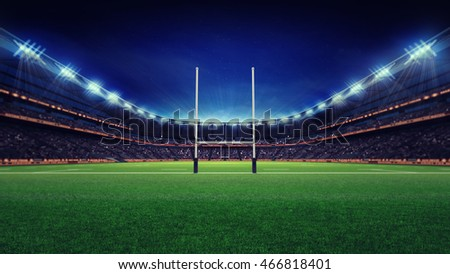 huge rugby stadium with fans and green grass, sport theme three dimensional 3D illustration