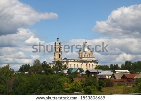 Huge Russian orthodox Trinity Cathedral, built in rare for Russia Gothic Revival style with elements of neobaroque and neoclassicism, main point of interest of Gus-Zhelezny, on sunny summer day.