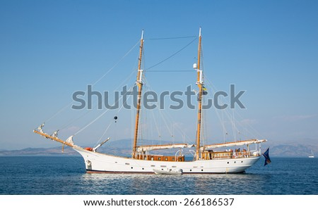 Huge sailing ship with two mast of wood.