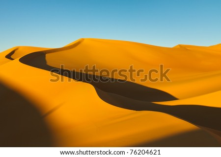 Huge Sand Dune at Sunset in the Awbari Sand Sea, Sahara Desert, Libya