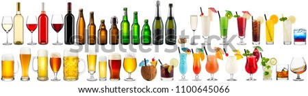 huge set collection of alcoholic beverages wine champagne beer colorful cocktails glass and bottles isolated on white background