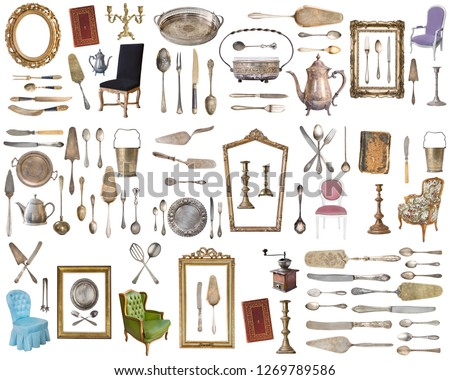 Huge set of antique items.Vintage household items, silverware, furniture and more. Isolated on white background.