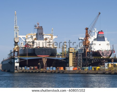 Huge ships in a dry dock