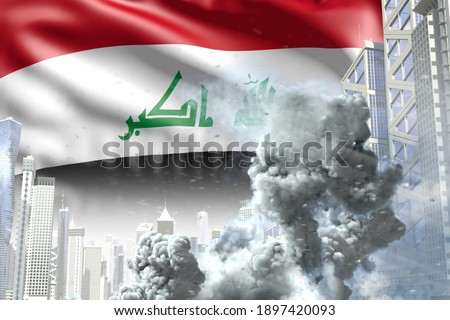 huge smoke column in the modern city - concept of industrial catastrophe or act of terror on Iraq flag background, industrial 3D illustration Photo stock ©