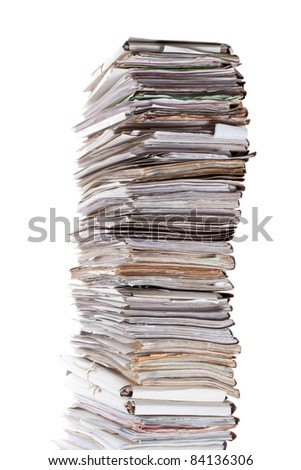 Huge stack of papers isolated on white