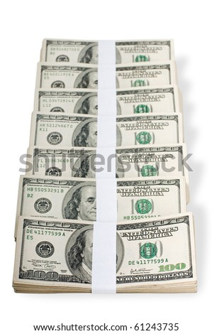Huge stack of prop money. Bundled in $10000 dollar stacks. Isolated on white.