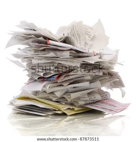 Huge stack of receipts on a white background