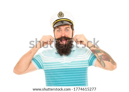 Huge surprise. Surprised sailor twirl moustache with mouth open. Barbershop. Bearded man get emotional surprise. Surprising news. Surprise adventure. Sea travel. Vacation. Surprise someone with trip.