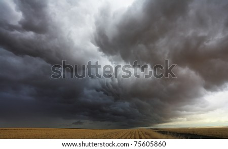 Huge thundercloud on fields of Montana
