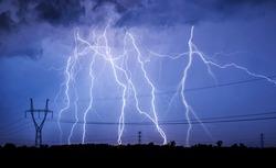 Huge thunderstorm hits at night