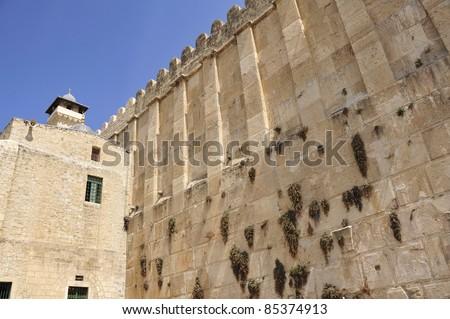 Huge wall of Patriarchs Cave in Hebron, Israel.