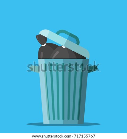 Huge waste trash can. Bin full of plastic bags with garbage. Metal bucket. Garbage recycling and utilization equipment. Waste management. illustration in flat style Raster version.