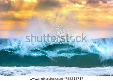 Huge Wave at sunset, Sydney Australia #755213719