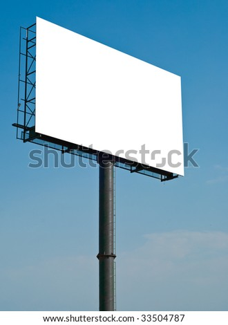 huge white blank billboard with blue sky