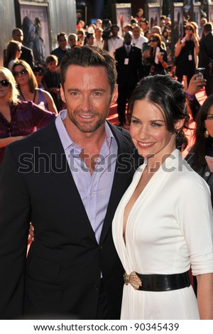 "Hugh Jackman & Evangeline Lilly at the Los Angeles premiere of their new movie ""Real Steel"" at Universal Studios Hollywood. October 2, 2011  Los Angeles, CA Picture: Paul Smith / Featureflash - stock photo"