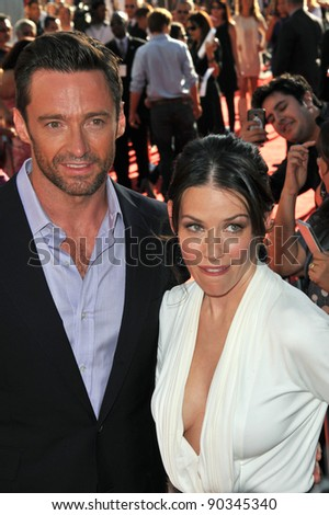 "Hugh Jackman & Evangeline Lilly at the Los Angeles premiere of their new movie ""Real Steel"" at Universal Studios Hollywood. October 2, 2011  Los Angeles, CA Picture: Paul Smith / Featureflash"