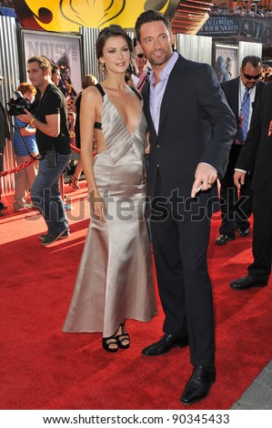 "Hugh Jackman & Olga Fonda at the Los Angeles premiere of their new movie ""Real Steel"" at Universal Studios Hollywood. October 2, 2011  Los Angeles, CA Picture: Paul Smith / Featureflash"