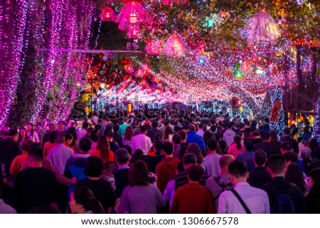 Huizhou, China - FEB 2019: During the Spring Festival, Huizhou West Lake holds a lantern expo, and the beautiful night view attracts many tourists to visit. #1306667578