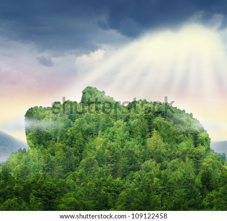 Human achievement and the power of personal success in business as a mountain of trees in the shape of a head and face with glowing sun light above the clouds as a symbol of hope for the future.