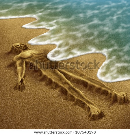 Human aging and disease as a body sculpted from sand on the beach with the ocean washing it away with the tide as a medical concept of loss due to age and illness as  dementia or terminal cancer.