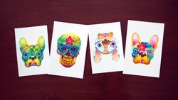 human and french bulldog sugar skull head watercolor painting illustration design hand drawing