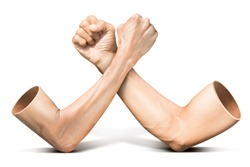 Human arm wrestling competition in concept of feeble battle with strong isolated on white background with clipping path