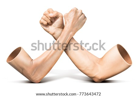 Human arm wrestling competition in concept of feeble battle with strong isolated on white background with clipping path ストックフォト ©