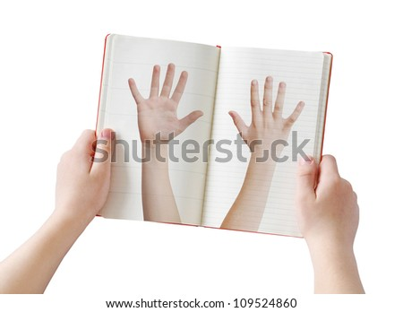 Human arms diary concept, isolated on white