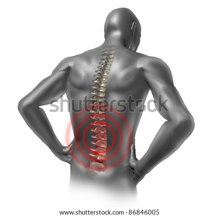 Human back pain in red showing the spinal cord skeleton inside the patients anatomical grey body.