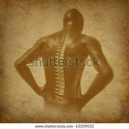 Human back spine spinal pain ancient grunge old medical parchment