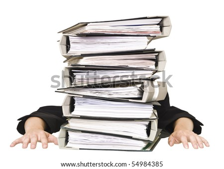 Human behind a stack of Folders isolated on white background