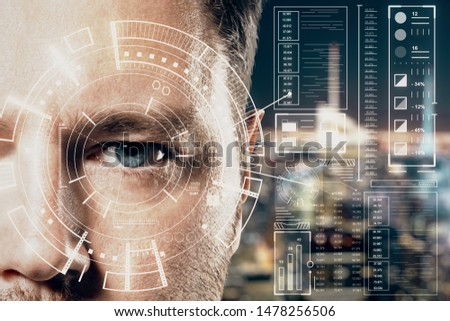 Human being futuristic vision concept with blue eye man and cyberspace screen with digital data at blurry city view background. Double exposure.