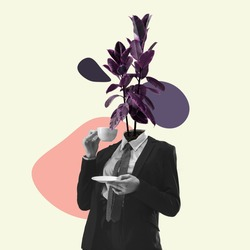 Human body drinking coffee in casual style outfit being headed by plant. Copy space for ad, text. Modern design. Conceptual, contemporary bright artcollage. Retro styled, surrealism, fashionable.