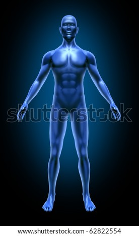 Human body medical x-ray pose chart joints muscles blue symbol - stock photo