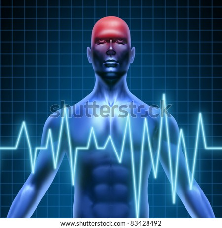 Human body with a head ache of the brain with a migraine and stroke accident caused by poor circulation representing neurology with heart blood health problems.