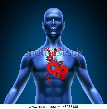 Human body with heart valves medical gears symbol blood flow pumping coronary circulation - stock photo