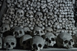 Human bones and skulls in the Ossuary at Kutna Hora church Czechia