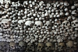 Human bones and skulls in the Sedlec Ossuary near Kutna Hora, Czech Republic.