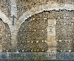 Human bones  and skulls in the Temple of the Bones in Evora - Alentejo, Portugal