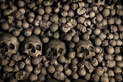 Human bones and skulls. Row of skulls. Skulls collection in catacombs. Symbol of death, fear and evil. Kostnice Church in Kutna Hora.