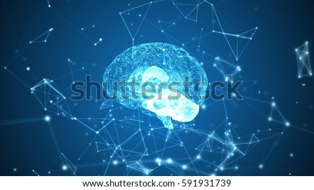 Human brain being formed by particles. Plexus structure evolving around. Blue abstract futuristic science and technology background. 3D rendering. Depth of field settings.