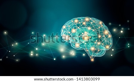 Human brain connexions illustration with abstract background and plexus lines network and copy space. Cerebral or neuronal activity concepts. Photo stock ©