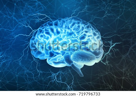 Human brain digital illustration. Electrical activity, flashes and lightning on a blue background.
