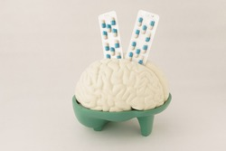Human brain hemisphere model and pills capsules in blister on white background. Anatomical structure human, physiology, medicine, neurology, study guide pharmacy, painkillers, drug, abuse concept