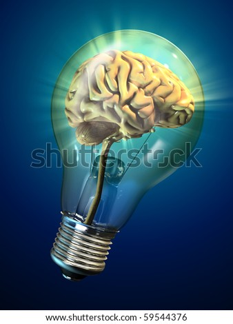 Human brain inside a glowing electrical bulb. Digital illustration.