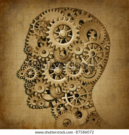 Human brain intelligence grunge machine medical symbol with old texture made of cogs and gears representing strategy and psychological mental neurological activity.
