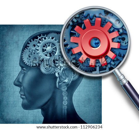 Human brain medical concept with gears and cogs represented by research of neurons symbols and a close up with a magnifying glass as intelligence related to cognitive function and memory.